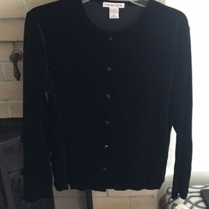 Black velvet sweater